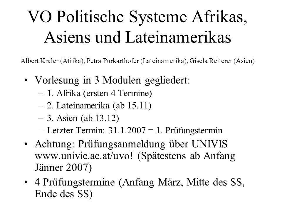 VO Politische Systeme Afrikas, Asiens und Lateinamerikas Albert Kraler (Afrika), Petra Purkarthofer (Lateinamerika), Gisela Reiterer (Asien)