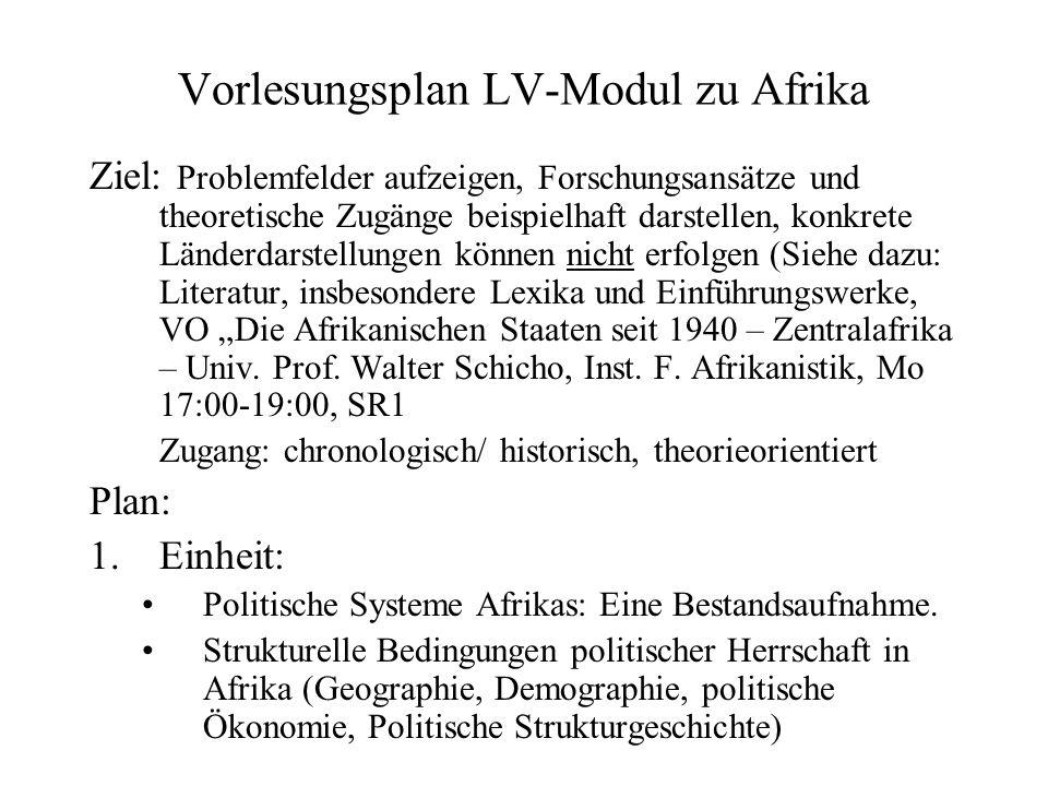 Vorlesungsplan LV-Modul zu Afrika