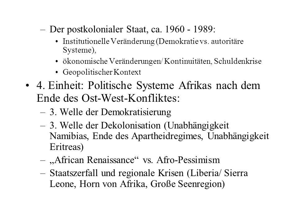 Der postkolonialer Staat, ca. 1960 - 1989: