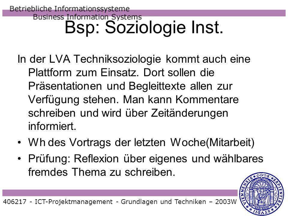 Bsp: Soziologie Inst.