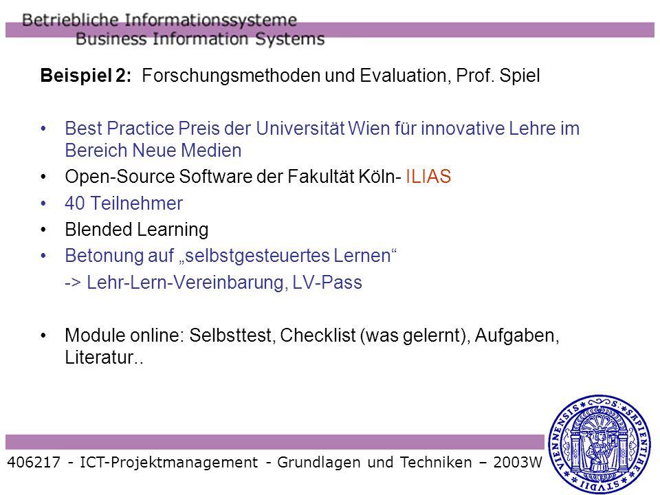 Beispiel 2: Forschungsmethoden und Evaluation, Prof. Spiel