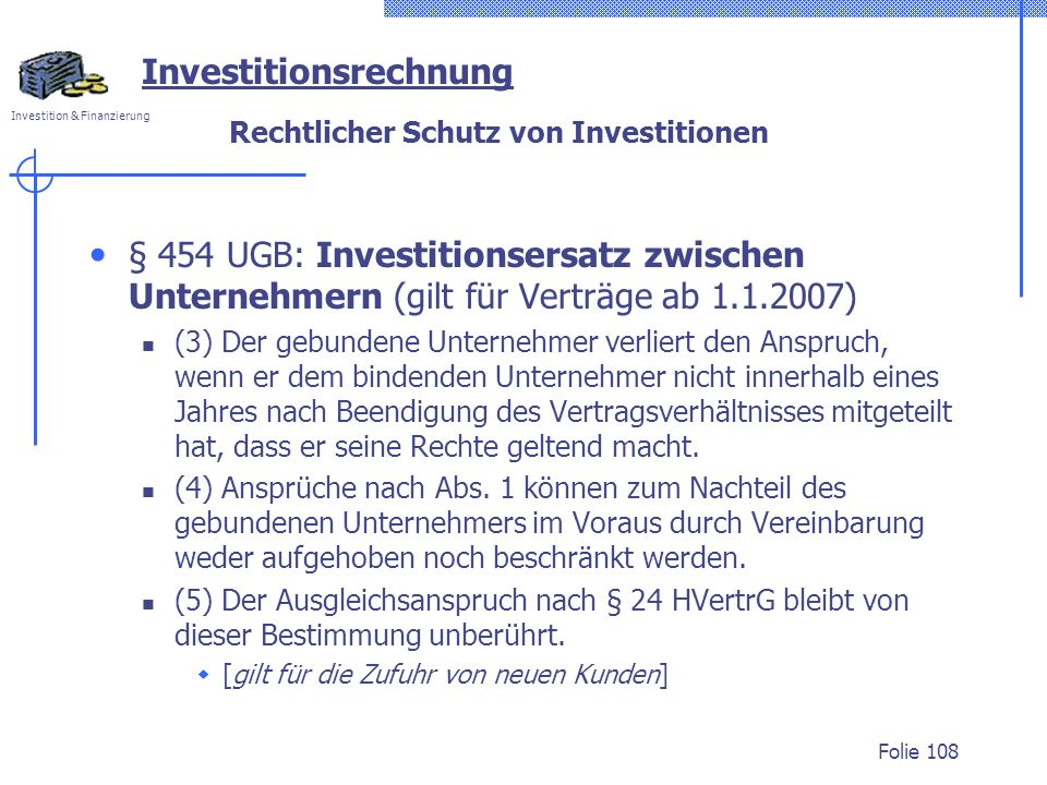 Rechtlicher Schutz von Investitionen