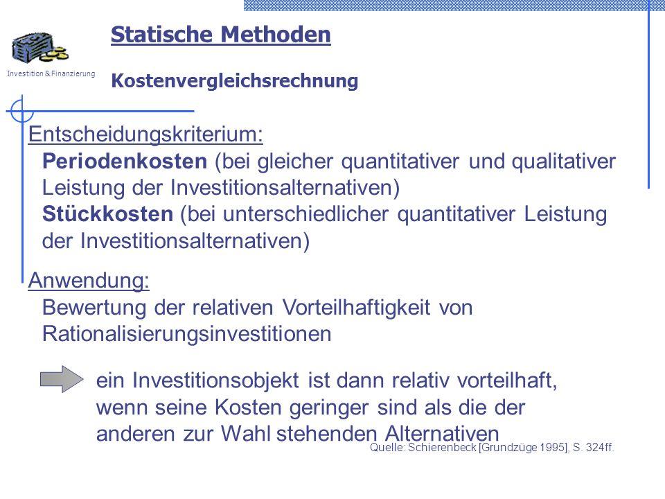 Statische Methoden Kostenvergleichsrechnung