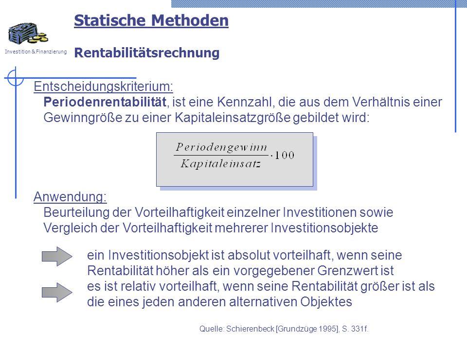 Statische Methoden Rentabilitätsrechnung