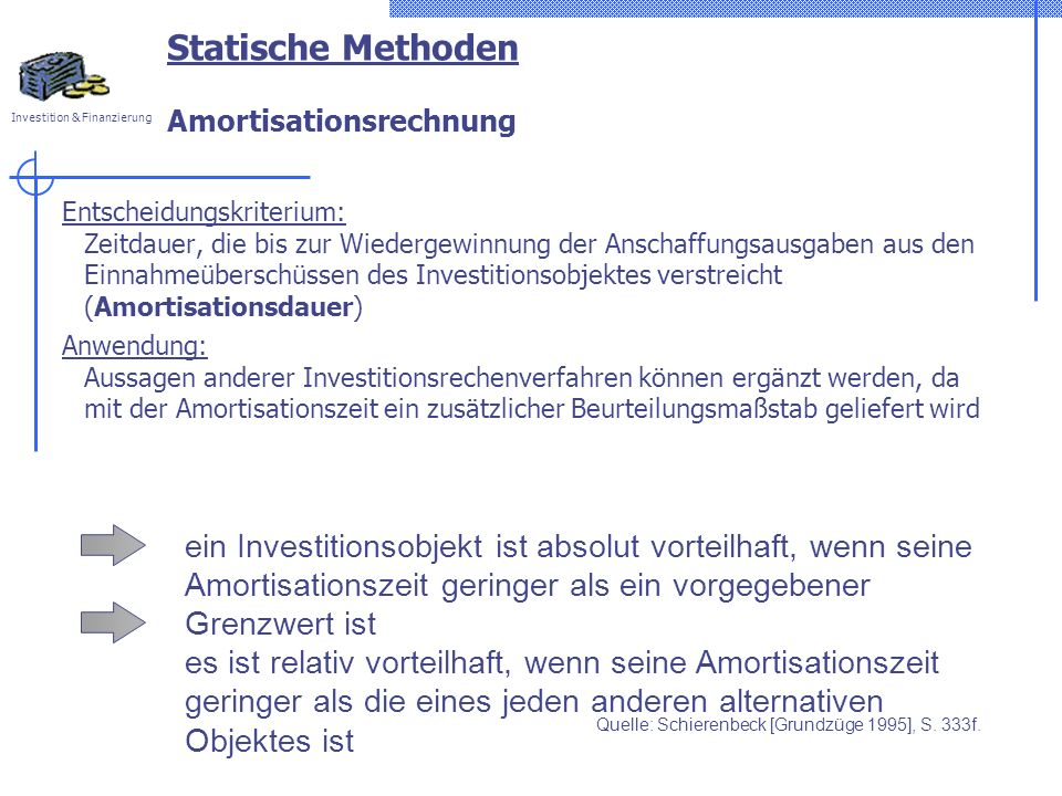 Statische Methoden Amortisationsrechnung