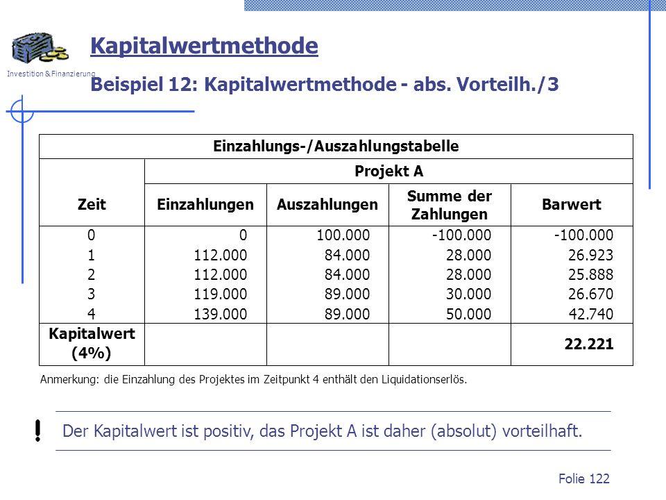 Beispiel 12: Kapitalwertmethode - abs. Vorteilh./3