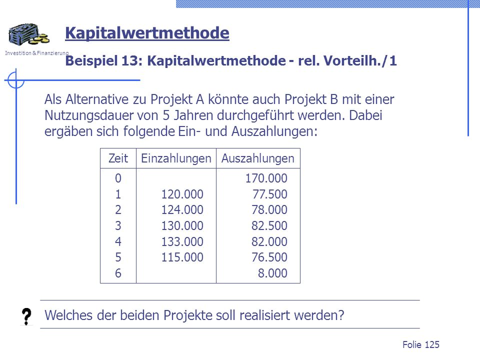 Beispiel 13: Kapitalwertmethode - rel. Vorteilh./1