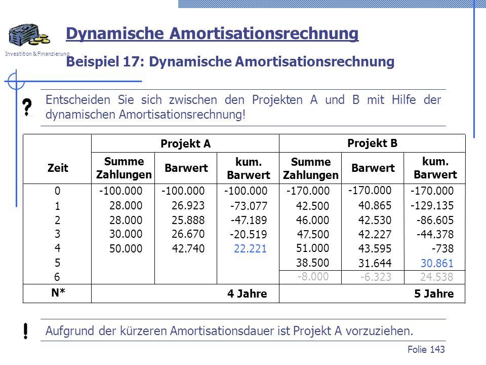Beispiel 17: Dynamische Amortisationsrechnung