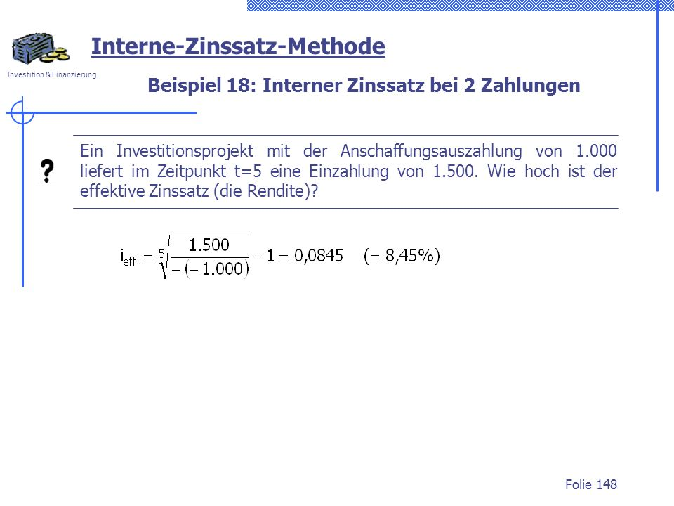 Beispiel 18: Interner Zinssatz bei 2 Zahlungen