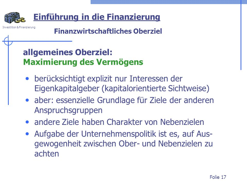 Finanzwirtschaftliches Oberziel