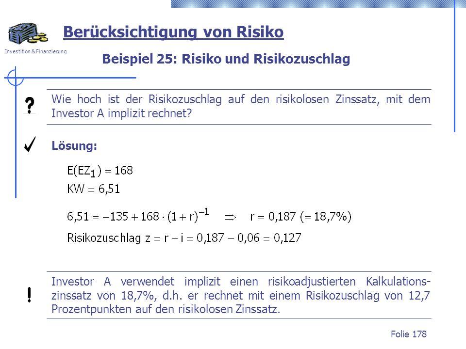 Beispiel 25: Risiko und Risikozuschlag