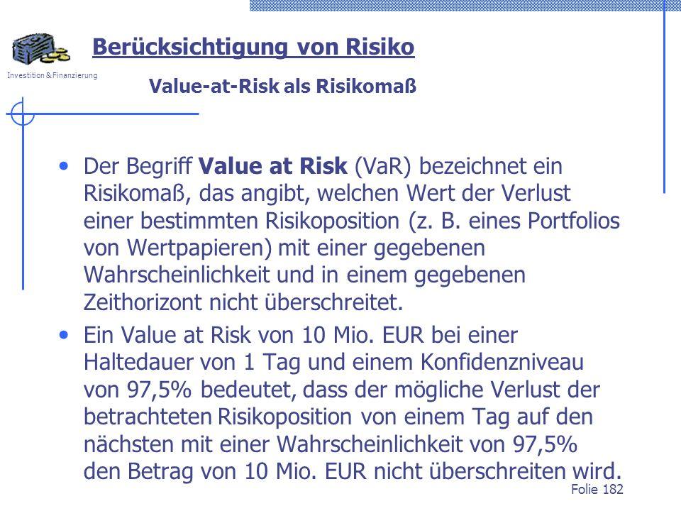 Value-at-Risk als Risikomaß