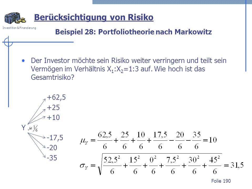 Beispiel 28: Portfoliotheorie nach Markowitz