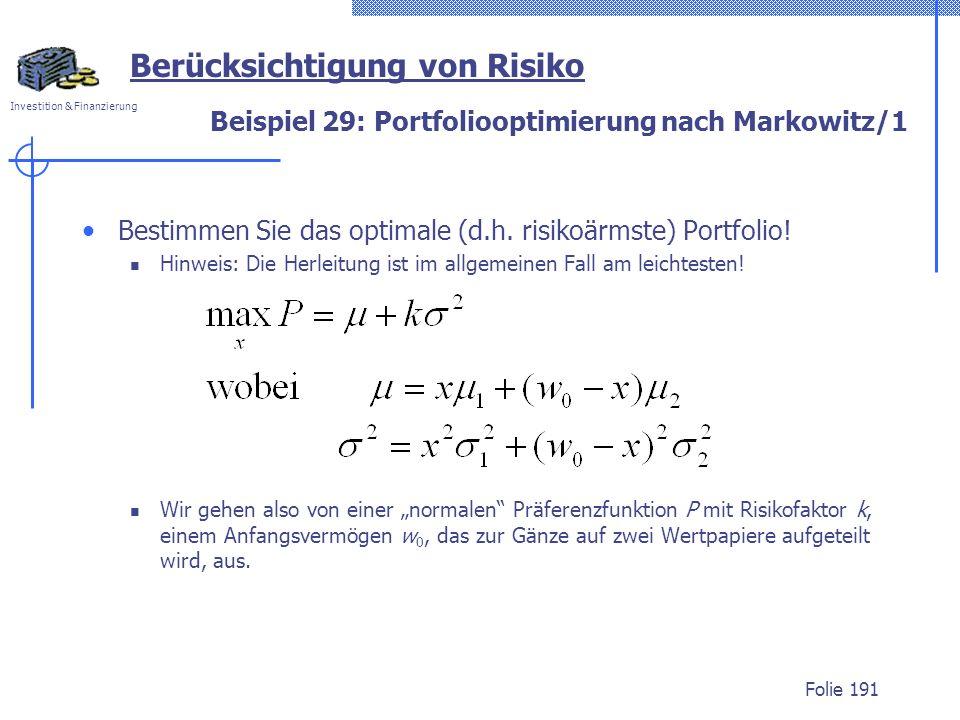 Beispiel 29: Portfoliooptimierung nach Markowitz/1