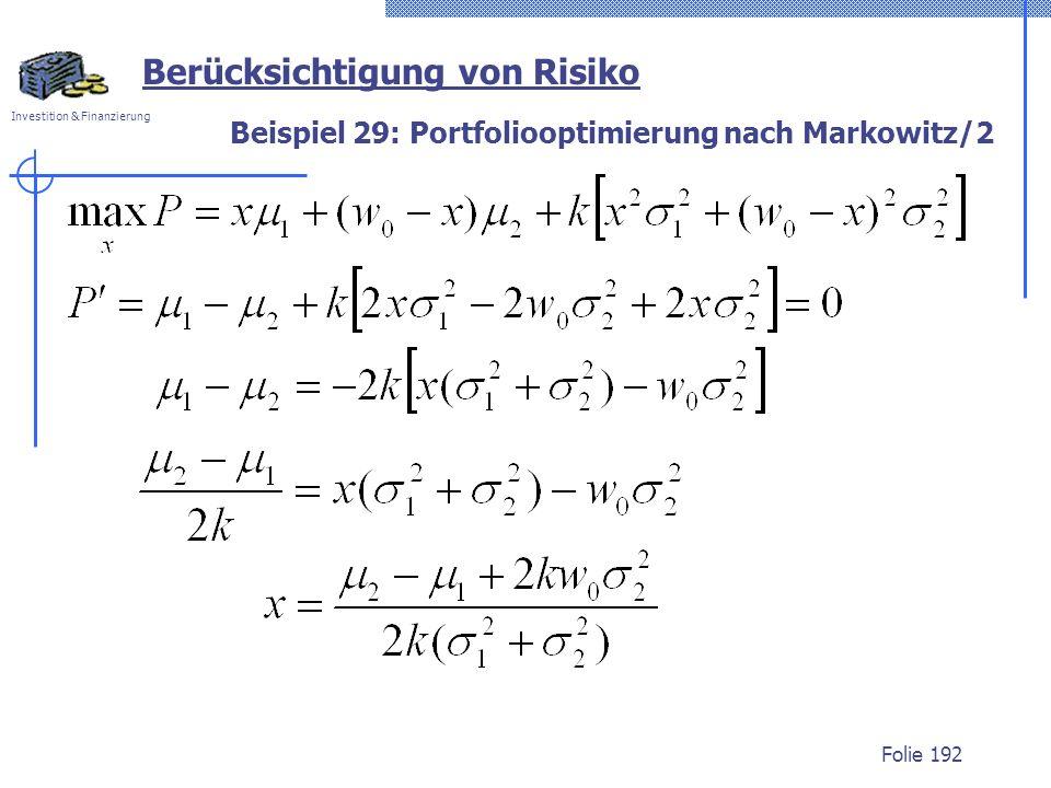 Beispiel 29: Portfoliooptimierung nach Markowitz/2