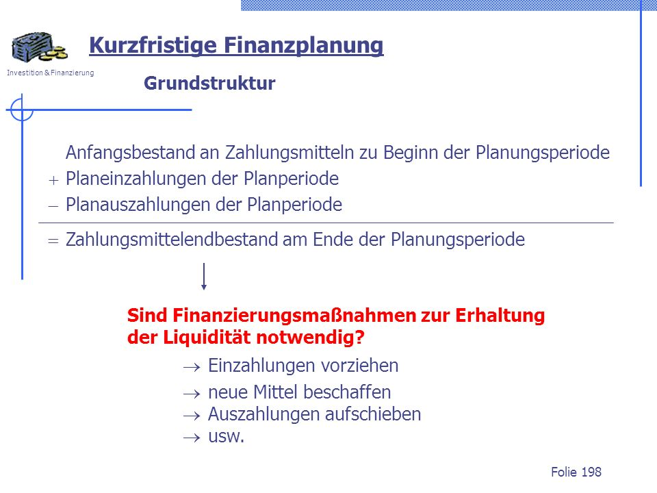 Kurzfristige Finanzplanung