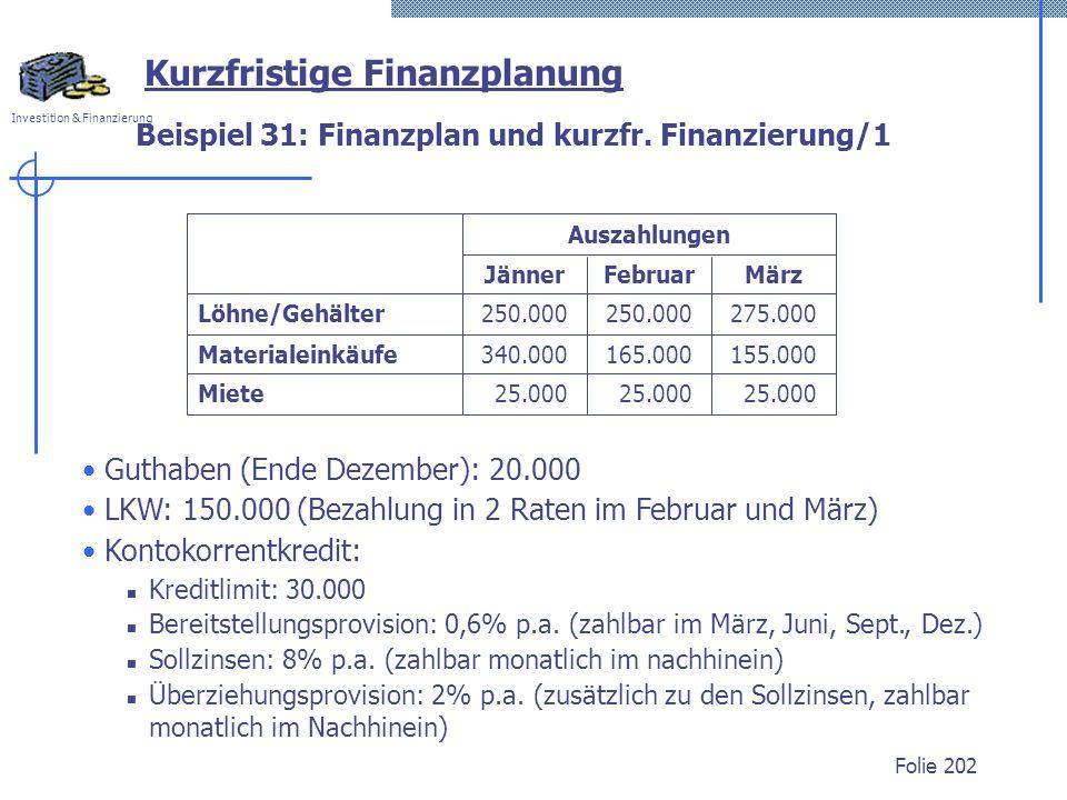 Beispiel 31: Finanzplan und kurzfr. Finanzierung/1