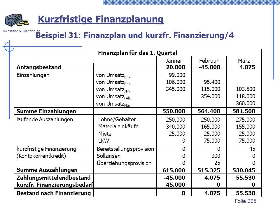 Beispiel 31: Finanzplan und kurzfr. Finanzierung/4