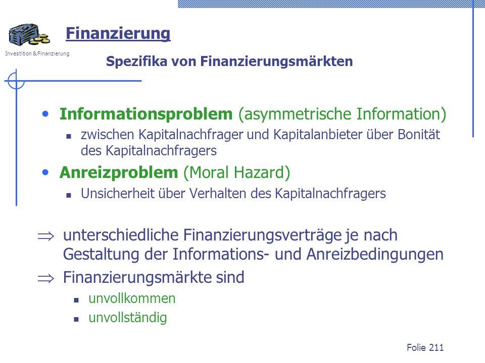 Spezifika von Finanzierungsmärkten