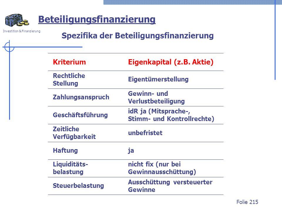 Spezifika der Beteiligungsfinanzierung