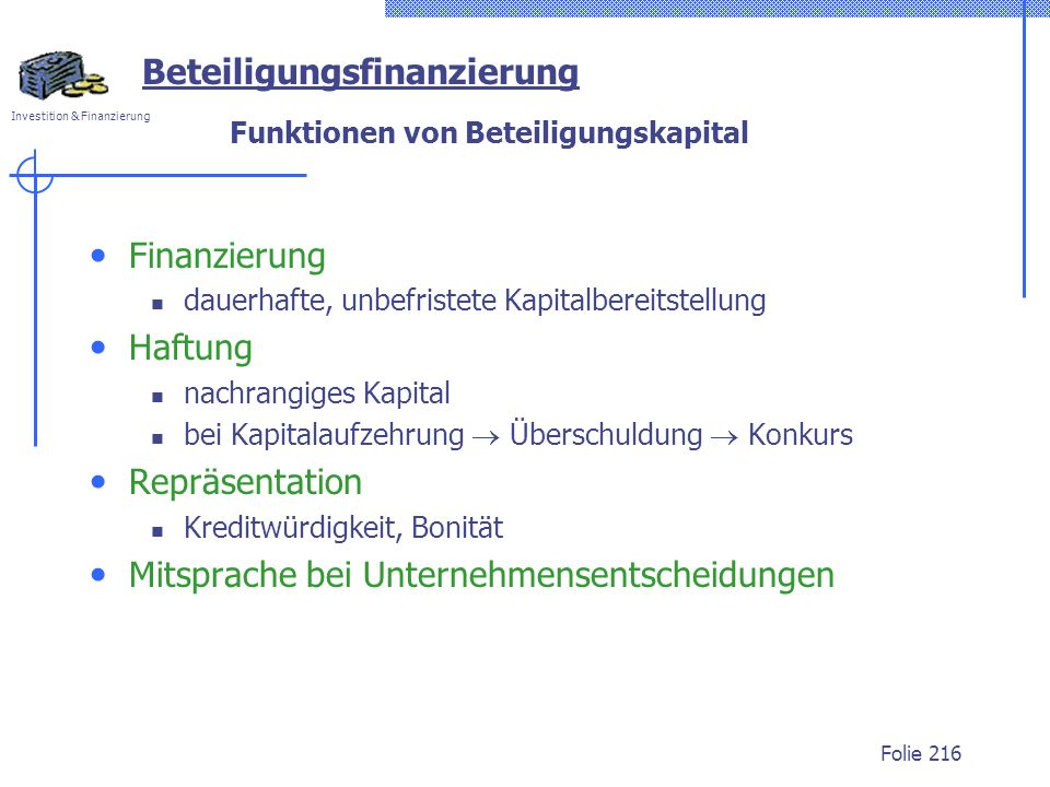 Funktionen von Beteiligungskapital