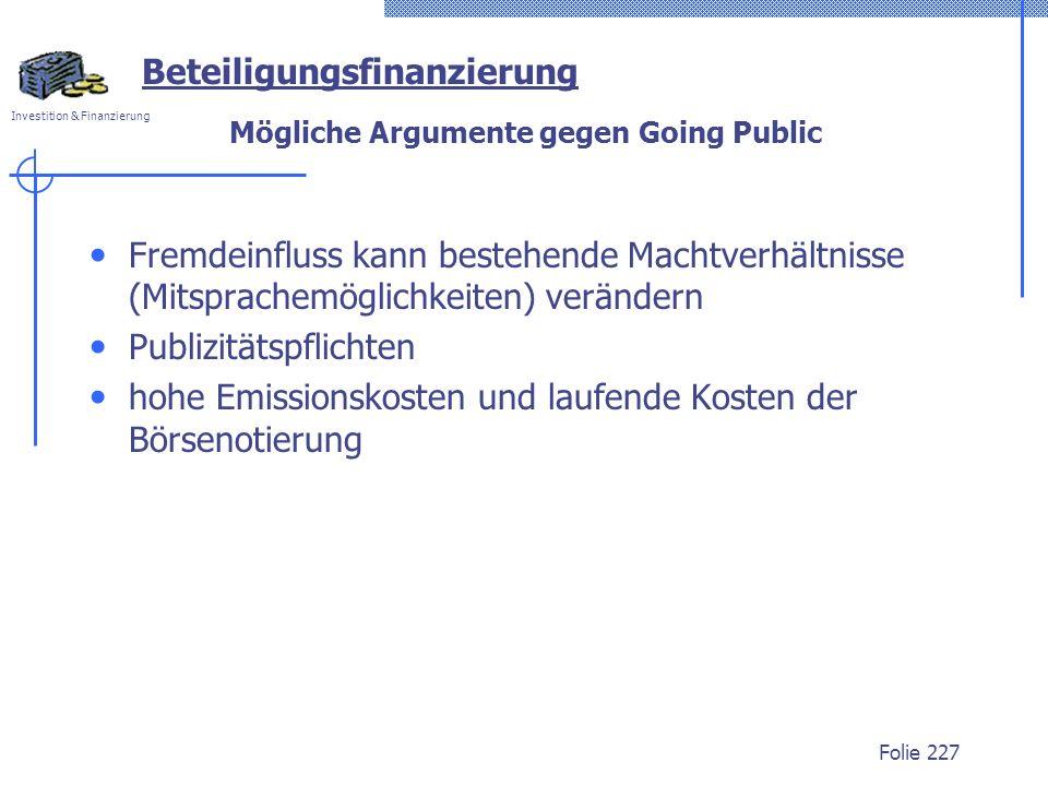 Mögliche Argumente gegen Going Public