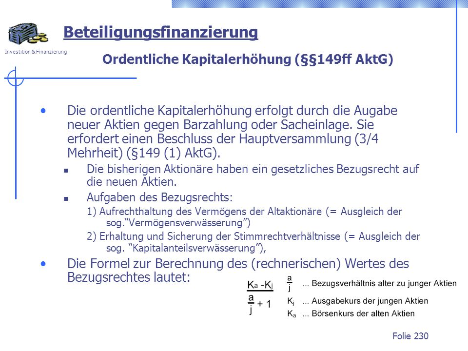 Ordentliche Kapitalerhöhung (§§149ff AktG)