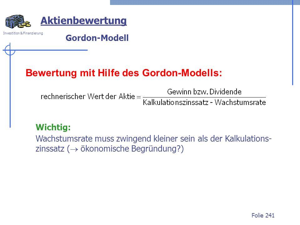 Bewertung mit Hilfe des Gordon-Modells: