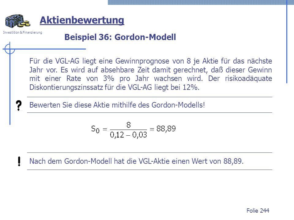 Beispiel 36: Gordon-Modell