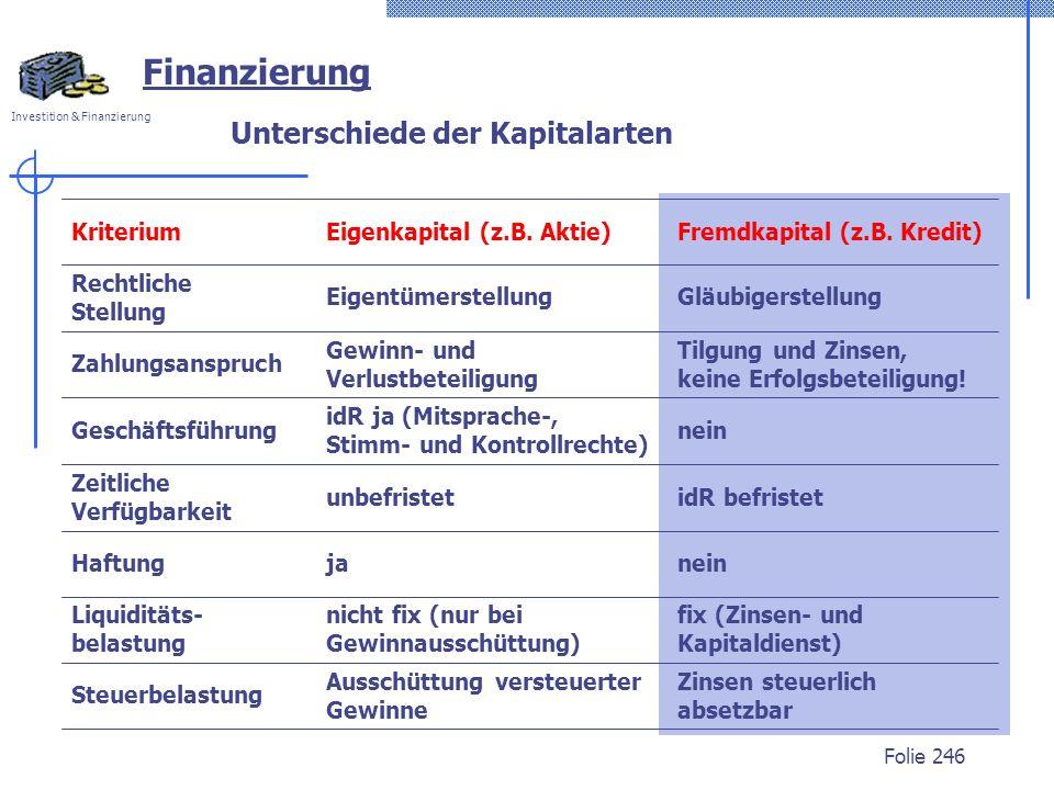 Unterschiede der Kapitalarten