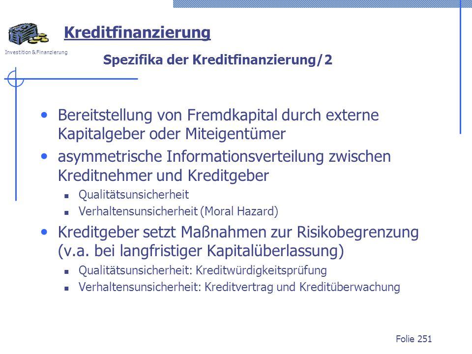 Spezifika der Kreditfinanzierung/2