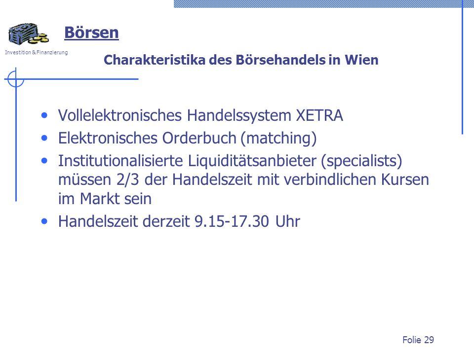 Charakteristika des Börsehandels in Wien