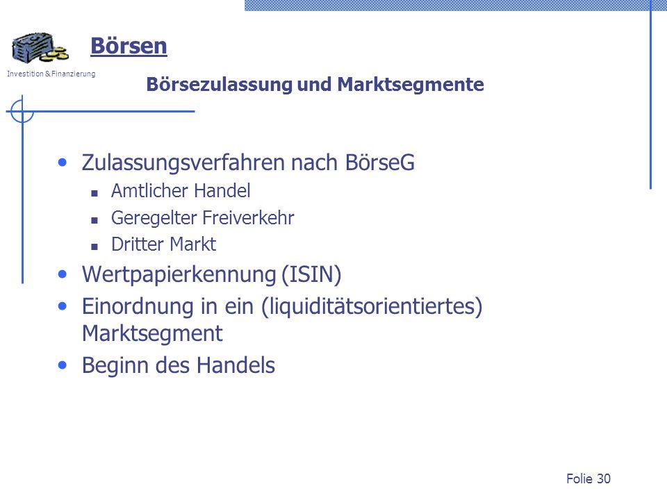 Börsezulassung und Marktsegmente