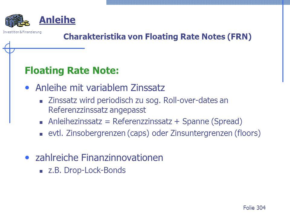 Charakteristika von Floating Rate Notes (FRN)