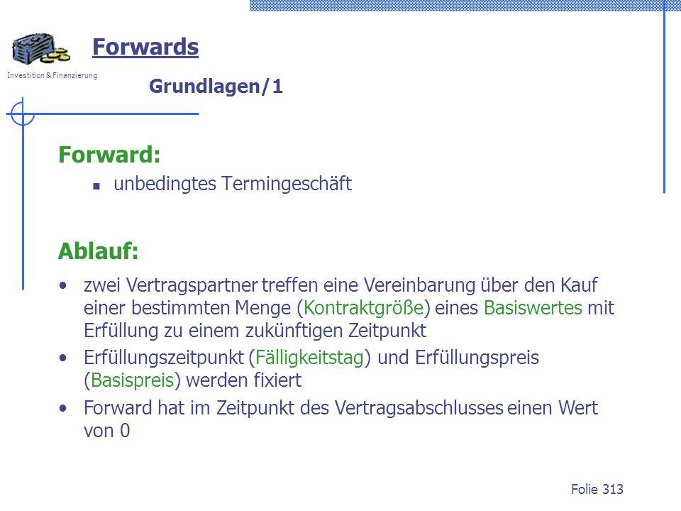 Forwards Forward: Ablauf: Grundlagen/1 unbedingtes Termingeschäft
