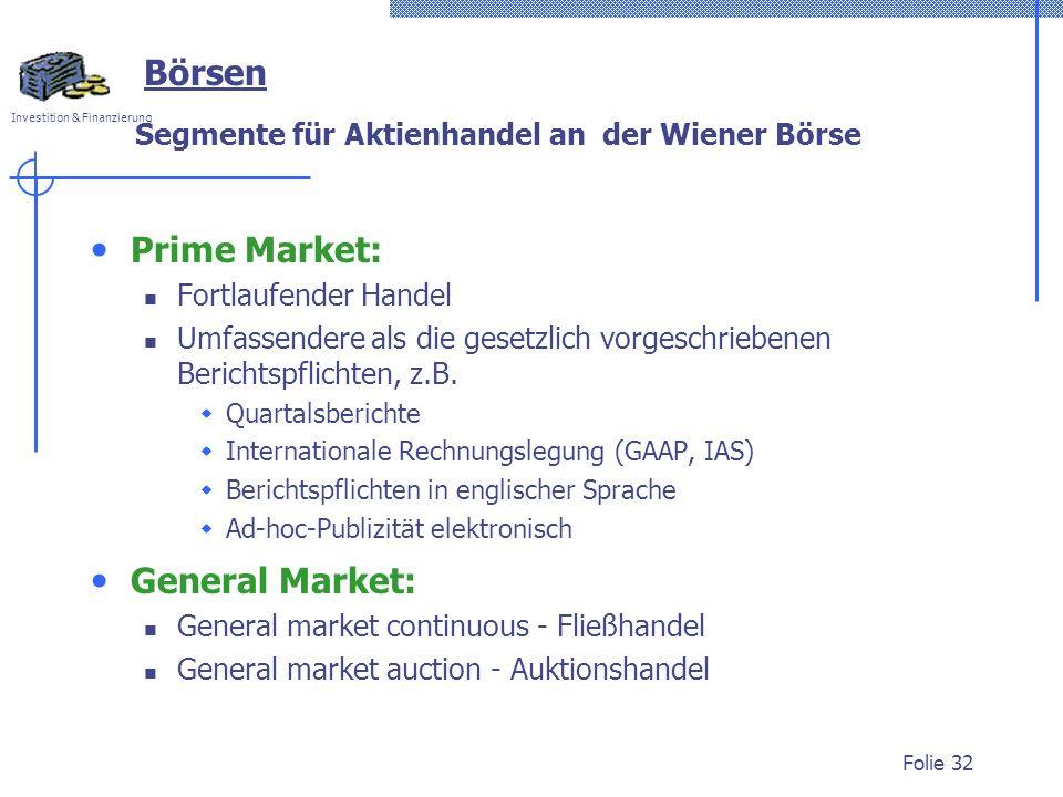 Segmente für Aktienhandel an der Wiener Börse