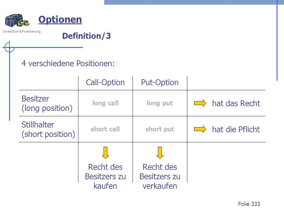 Optionen Definition/3 4 verschiedene Positionen: Call-Option
