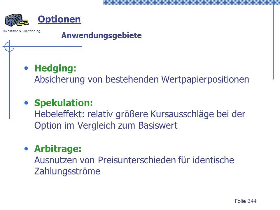 Hedging: Absicherung von bestehenden Wertpapierpositionen