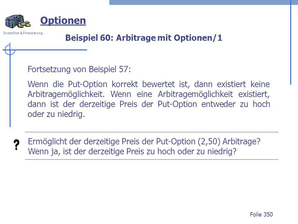 Beispiel 60: Arbitrage mit Optionen/1