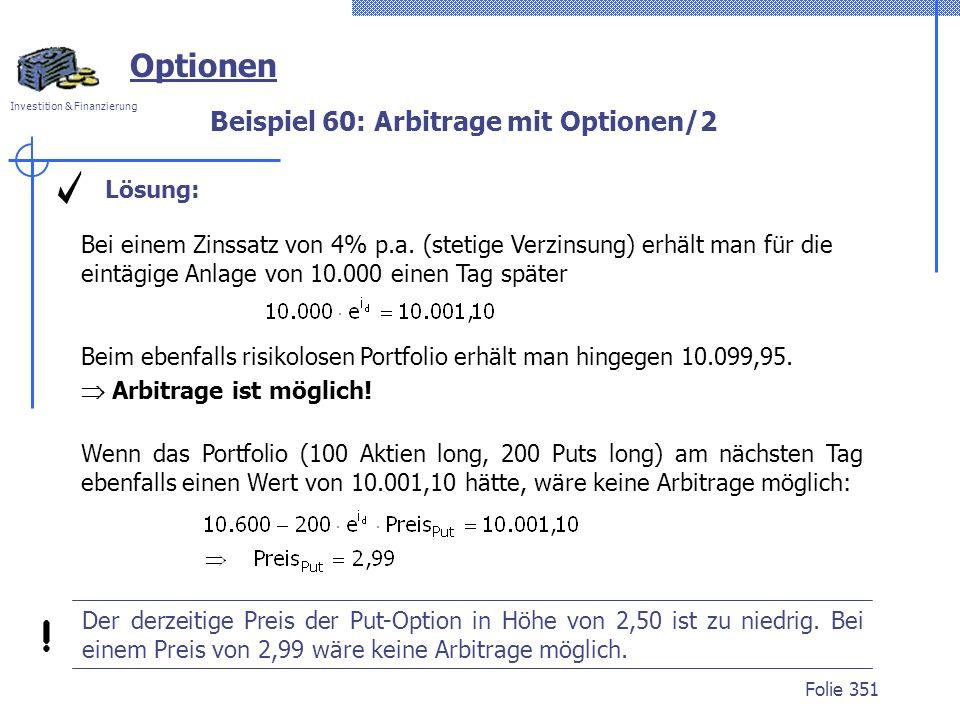 Beispiel 60: Arbitrage mit Optionen/2