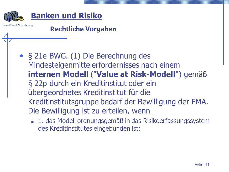 Banken und Risiko Rechtliche Vorgaben.