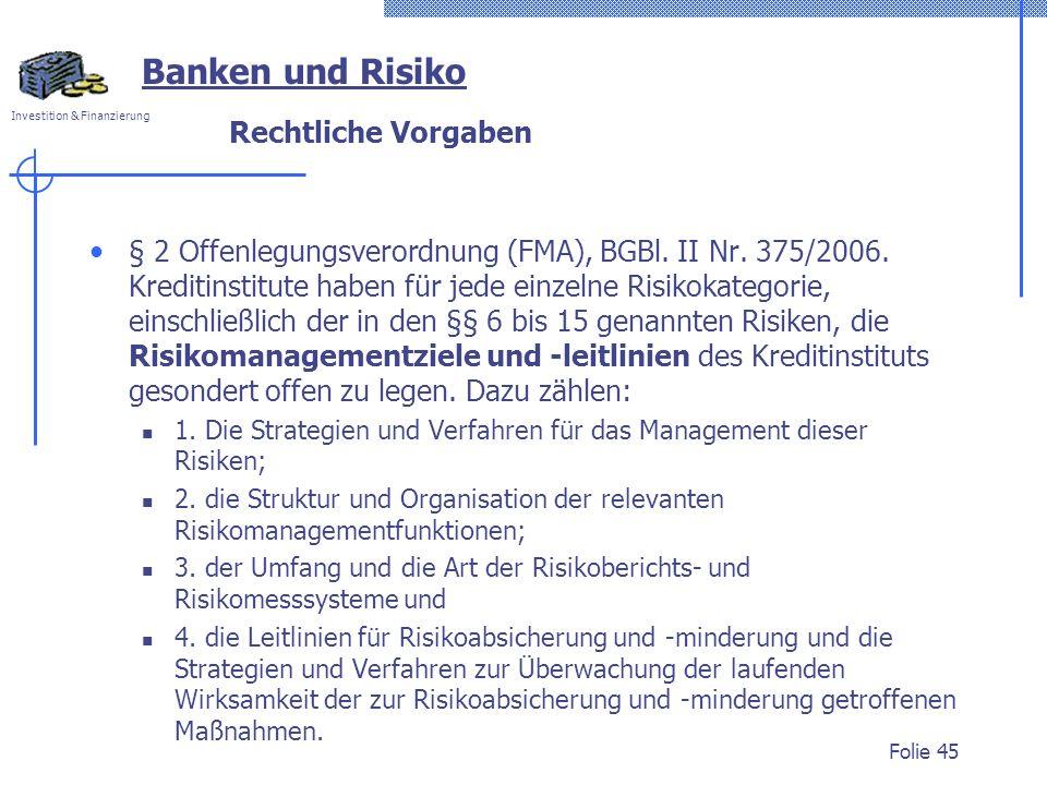 Banken und Risiko Rechtliche Vorgaben