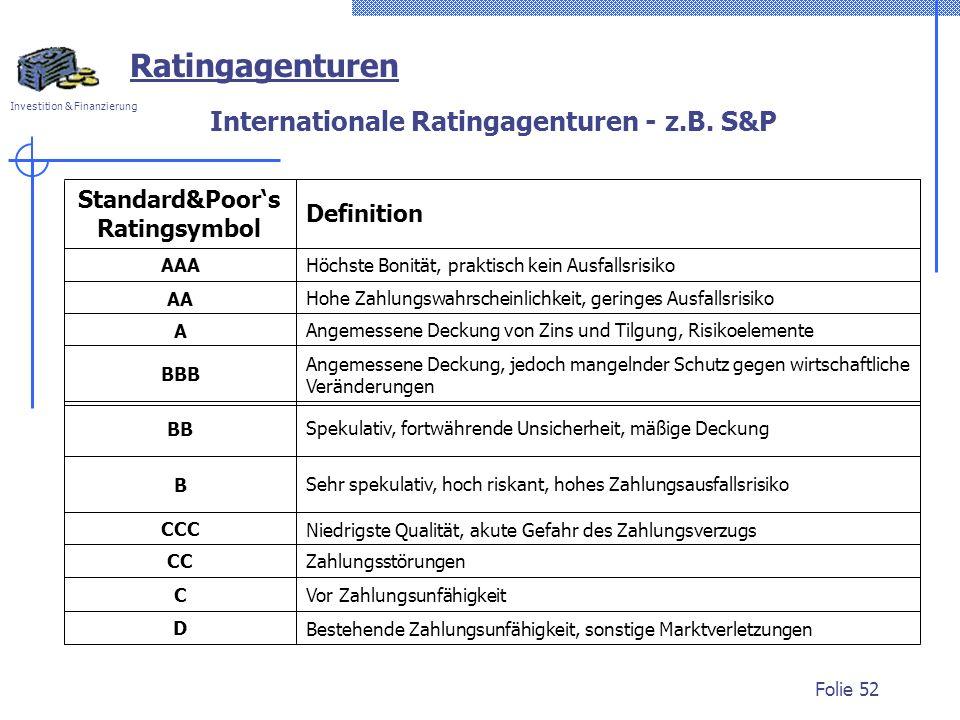 Internationale Ratingagenturen - z.B. S&P