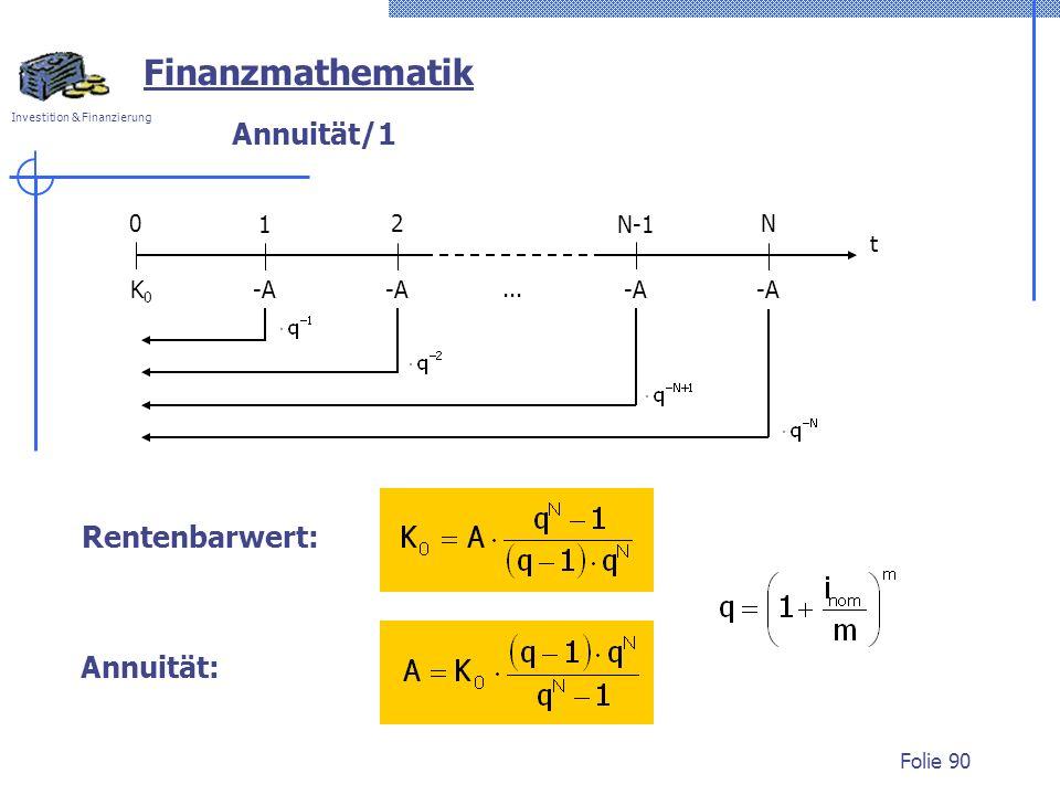 Finanzmathematik Annuität/1 Rentenbarwert: Annuität: 1 2 t N-1 N -A K0