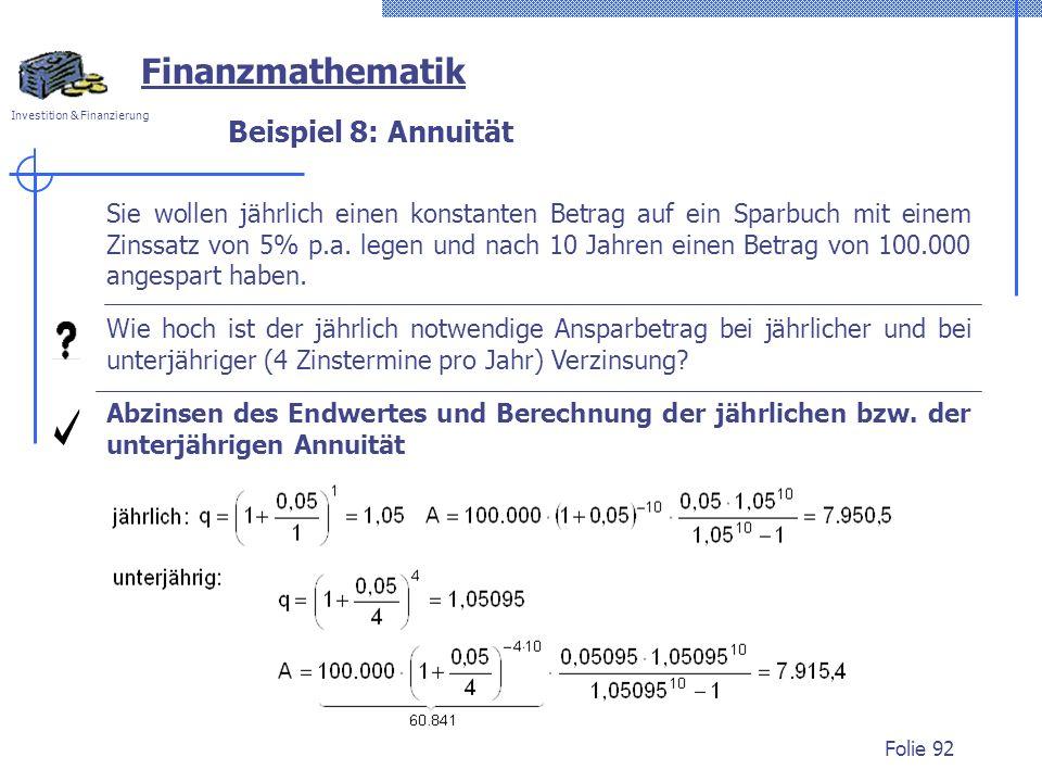 Finanzmathematik Beispiel 8: Annuität