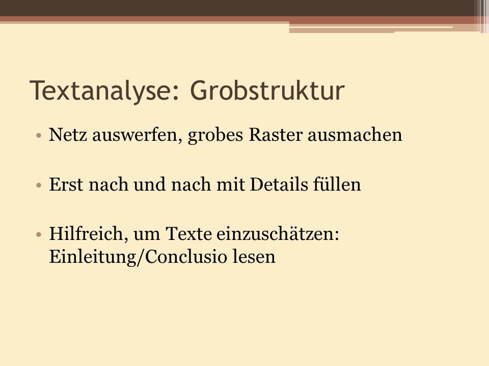 Textanalyse: Grobstruktur