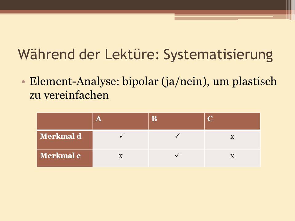 Während der Lektüre: Systematisierung