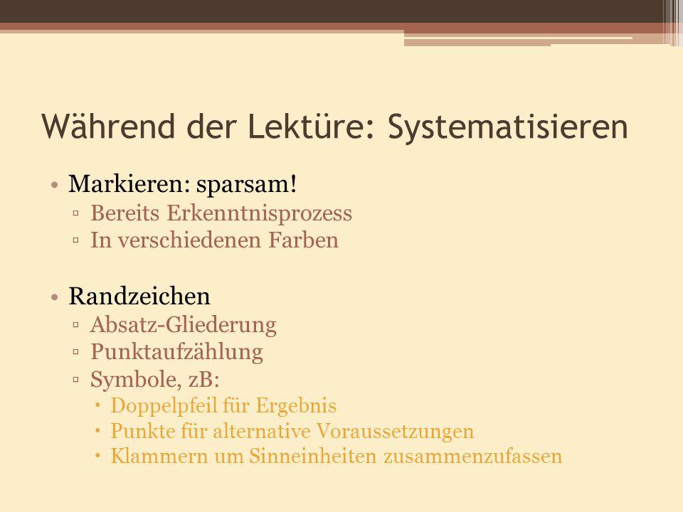 Während der Lektüre: Systematisieren