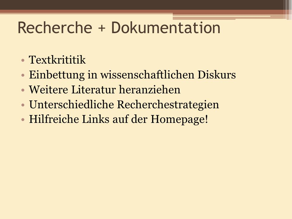 Recherche + Dokumentation