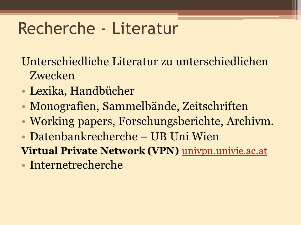 Recherche - Literatur Unterschiedliche Literatur zu unterschiedlichen Zwecken. Lexika, Handbücher.